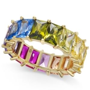 INC Womens Size 7 Gold Tone Rainbow Crystal Ring